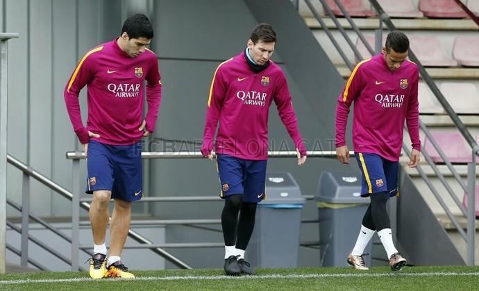 Suárez, Messi e Neymar no treino do Barcelona (Foto: Site oficial Barcelona)
