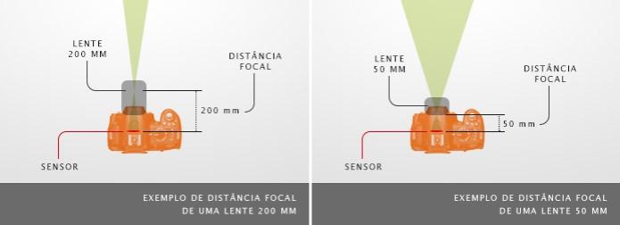 Distâncias focais das lentes de 200 mm, à esquerda, e das lentes de 50 mm, à direita (Foto: TechTudo / Adriano Hamaguchi) (Foto: Distâncias focais das lentes de 200 mm, à esquerda, e das lentes de 50 mm, à direita (Foto: TechTudo / Adriano Hamaguchi))