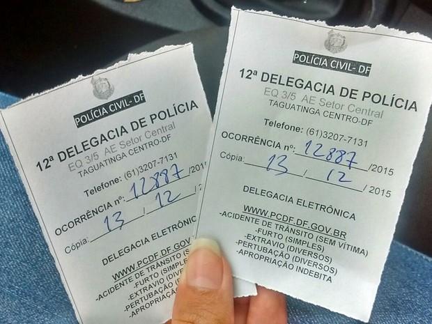 Boletim de ocorrência registrado na 12° DP, em Taguatinga, por Victor Lopes, de 22 anos, e Ana Carolina de Sousa, de 21 anos (Foto: Victor Lopes/Arquivo Pessoal)