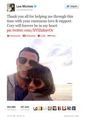 Foto de Lea Michele com Cory Monteith foi a mensagem mais retuitada no Twitter em 2013 (Foto: Reprodução/Twitter/msleamichele)