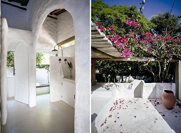 Uma espécie de varanda privativa acima dos quartos acomoda a ducha na sala de banho | Em continuidade ao espaço de banho, um pergolado traz o colorido vibrante de primaveras tradicionais da Tunísia (Foto: Marco Antonio/ Editora Globo)