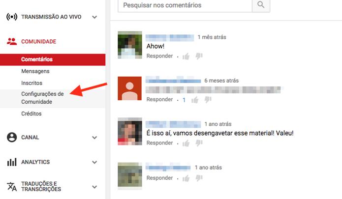 Link para acessar as configurações de comentários em um canal do YouTube (Foto: Reprodução/Marvin Costa)