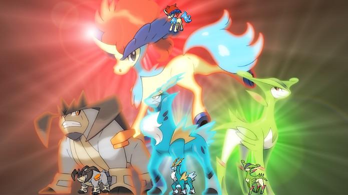 As Espadas da Justiça, da direita para a esquerda: Terrakion, Cobalion, Virizion e Keldeo no topo, são fortes lendários de Pokémon Black & White (Foto: Reprodução/Rafael Monteiro)