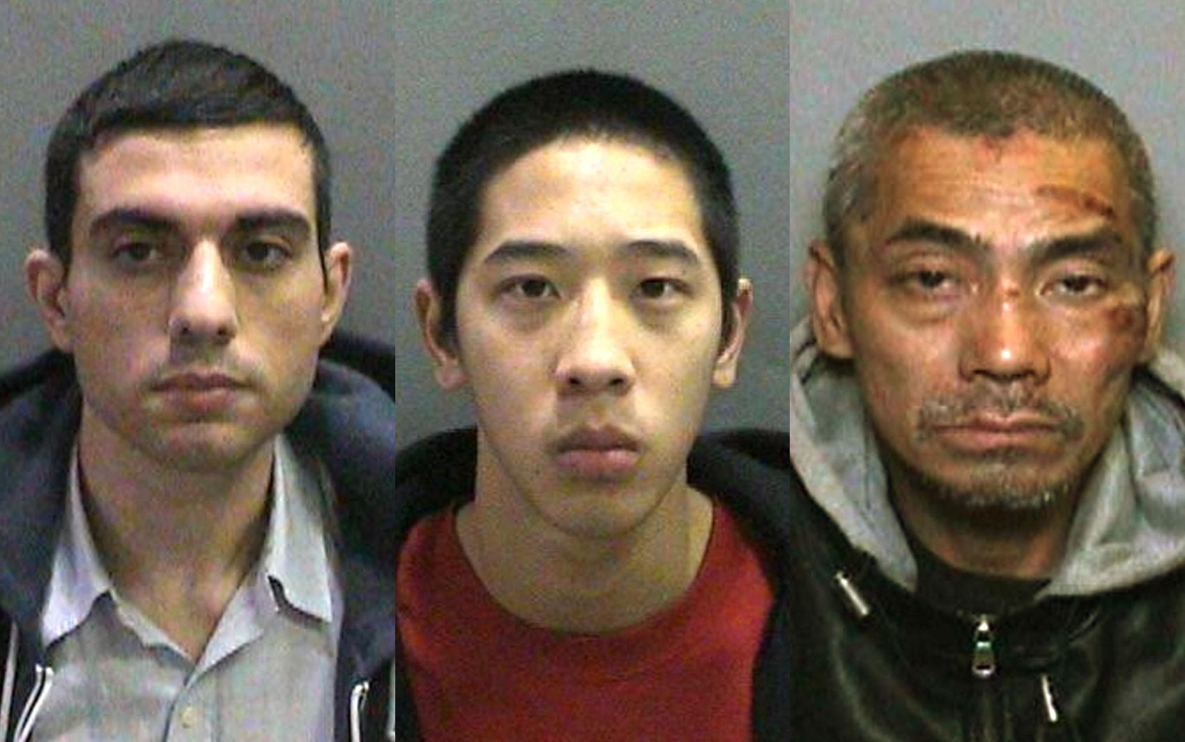 A partir da esquerda, Hossein Nayeri, Jonathan Tieu e Bac Duong, fugitivos da prisão de Orange County, em Los Angeles, em fotos divulgadas pela polícia (Foto: Orange County Sheriff's Department via AP)