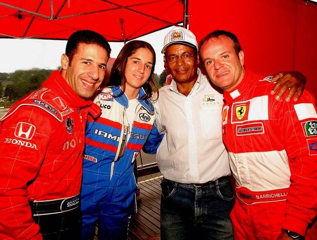 Tony Kanaan, Bia Figueiredo, Nô e Rubens Barrichello nas 500 Milhas de Kart da Granja Viana, em 2000 (Foto: Miguel Costa Jr. / Divulgação)