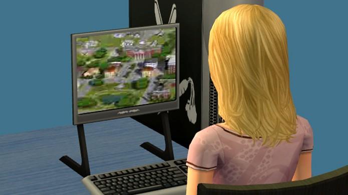 Em The Sims 2 é possível ver seu personagem jogar uma versão inicial de The Sims 3 (Foto: Reprodução/The Sims Wiki)