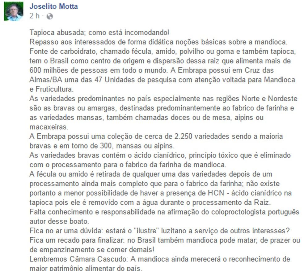 Réplica escrita pelo pesquisador Joselito Motta (Foto: Reprodução/ Facebook)