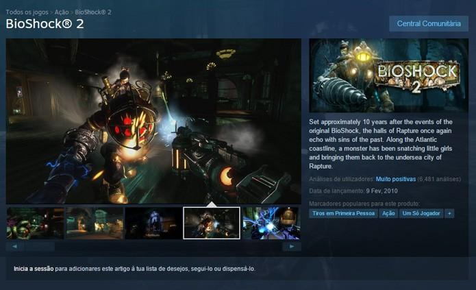 Página do game no Steam (Foto: Reprodução/André Mello)