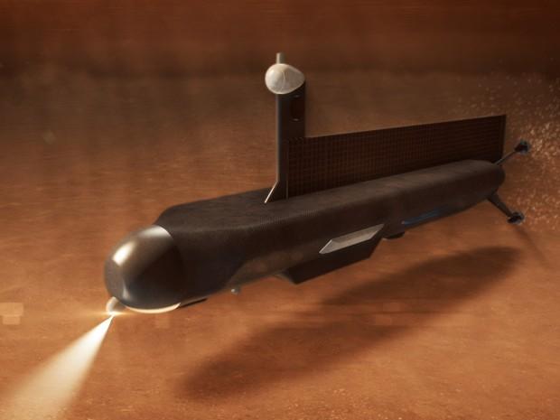 Submarino seria levado ao mar de Titan por mini espaçonave militar dos Estados Unidos (Foto: J. Glenn/Nasa/BBC)