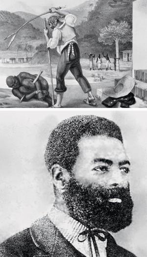 CENA BRASILEIRA Luís Gama, acima, que nasceu livre e foi vendido como escravo. Ao alto, uma cena da escravidão brasileira. Aqui, os escravos viviam menos que nos EUA (Foto: Gianni Dagli Orti/AFP e reprodução)