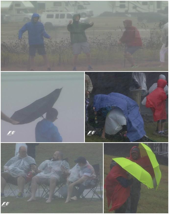 Fãs da Fórmula 1 encaram chuva e vento para esperar treino classificatório para GP dos EUA (Foto: Divulgação)