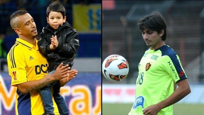Fininho e Vinícius Simon, lateral e zagueiro do Goiás (Foto: Montage/GloboEsporte.com)