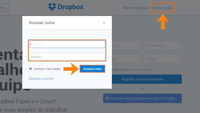 Acesse sua conta do Dropbox pelo computador (Foto: Reprodução/Barbara Mannara)