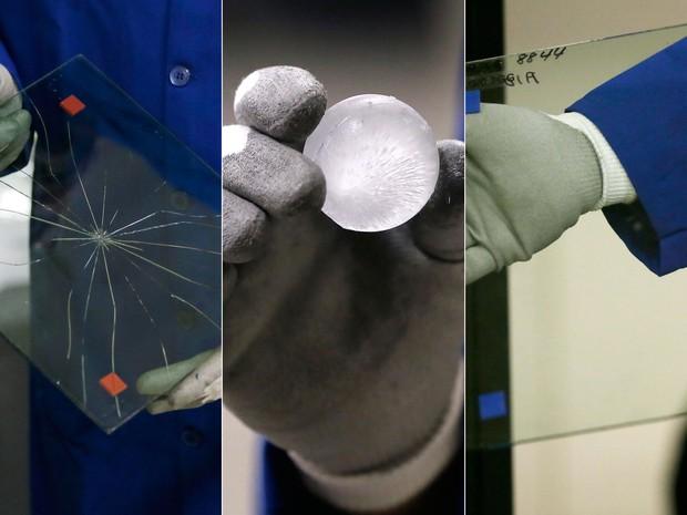 Em teste com bola de gelo, vidro normal (esquerda) estilhaçou e o Gorilla Glass não sofreu nada (Foto: AP Photo/Carlos Osorio)