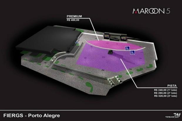 Mapa Maroon 5 Porto Alegre (Foto: Divulgação)