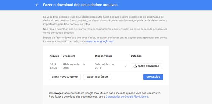 Google armazena arquivos criados no Takeout para download posterior (Foto: Reprodução/Google)