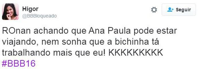 post ronan ana paula (Foto: Web)
