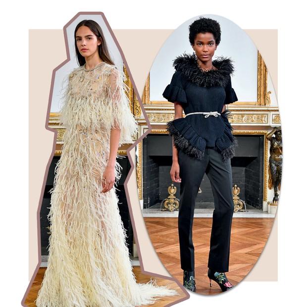 Monique Lhuillier: Rendas e plumas marcaram as roupas prêt-à-porter de ocasião da estilista, reforçando seu estilo hiperfeminino (Foto:  Francois G. Durand/Getty Images, Imaxtree e Divulgação)