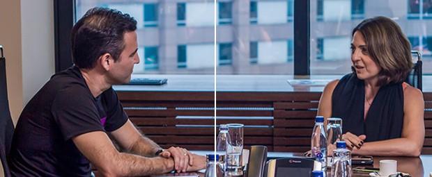 VIRANDO A CHAVE Na sede do MTC, o centro tecnológico da Microsoft, em São Paulo, Vélez e Paula conversam sobre  inovação e revolução (Foto: Rogério Albuquerque)
