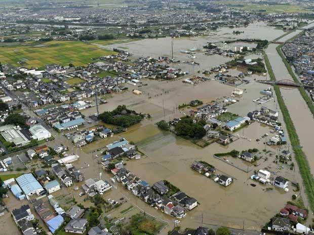 Vista aérea de Koshigaya, em Saitama (Foto: Kyodo News / via AP Photo)