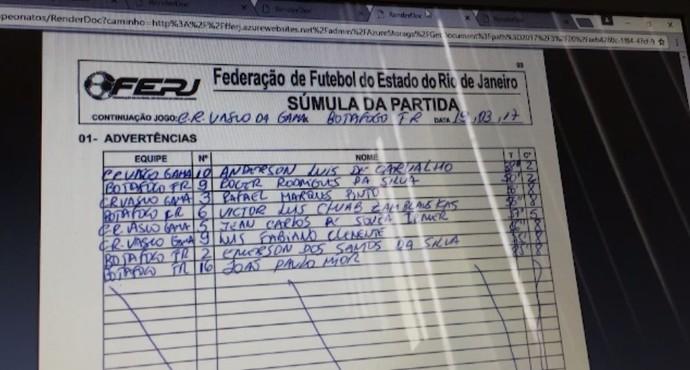 Súmula aponta camisa Rafael Marques com a 3 de Jomar (Foto: Reprodução SporTV)