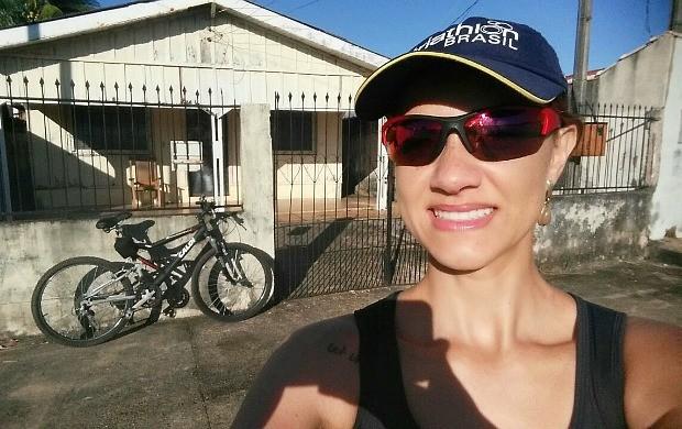 Karina Quadros faz 35km de ciclismo (Foto: Karina Quadros/Arquivo Pessoal)