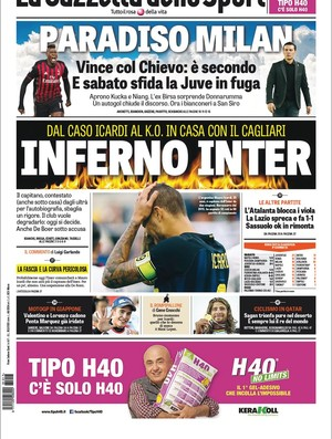 "BLOG: Jornais italianos estampam polêmica de Icardi e ""inferno"" do Inter de Milão"
