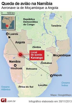 mapa queda avião namíbia (Foto: 1)