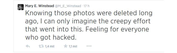 Tuíte de atriz hackeada pode ter denunciado falha grave e antiga no iCloud (Foto: Reprodução/Twitter)
