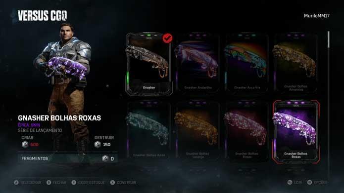 Selecione novas skins em Gears of War 4 (Foto: Reprodução/Murilo Molina)