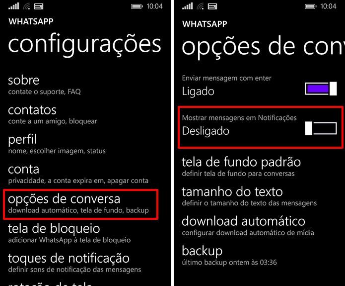 Usuário pode desligar prévias no WhatsApp para Windows Phone para ter maior privacidade (Foto: Reprodução/Elson de Souza)