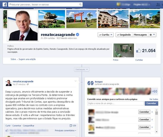 Anuncio foi feito na fã page do governador (Foto: Reprodução/ Internet)