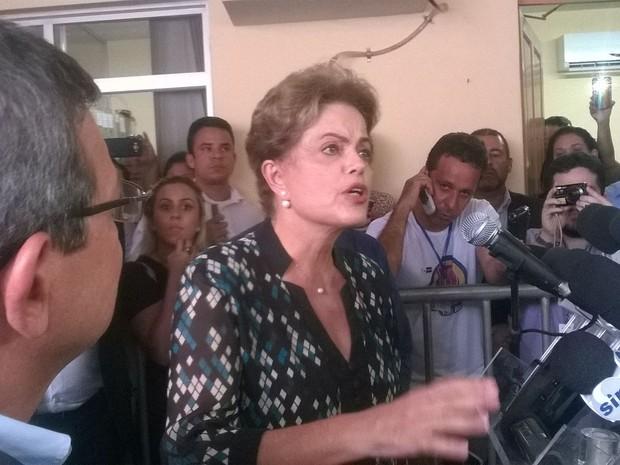 Dilma em coletiva de imprensa (Foto: Viviane Machado/ G1)