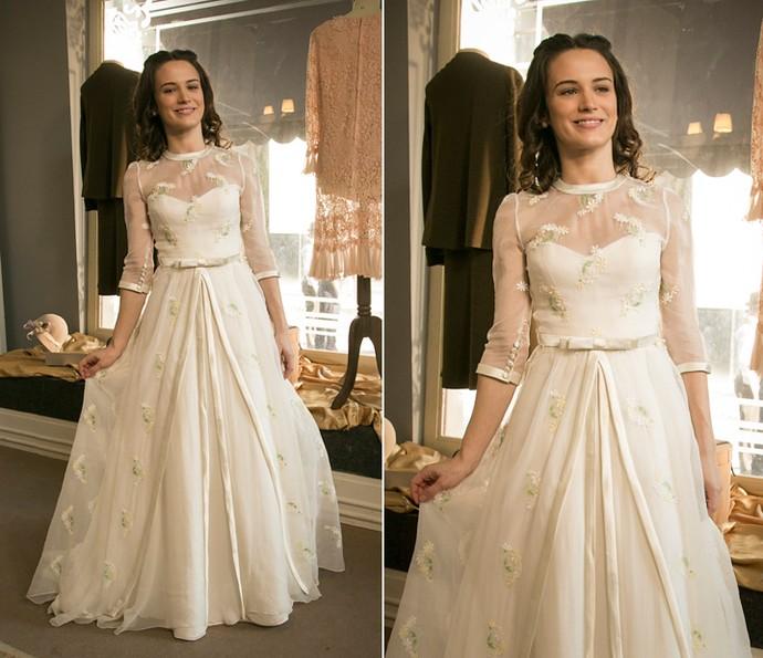 Vestido de noiva de Maria é singelo e romântico (Foto: Raphael Dias/Gshow)
