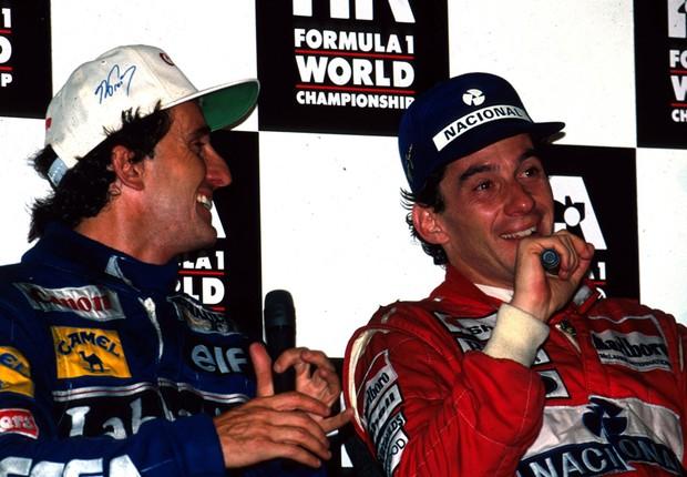 Prost e Senna na coletiva pós GP (Foto: Divulgação)