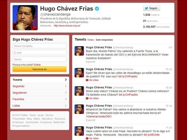 Conta de Hugo Chávez no Twitter (Foto: Reprodução)