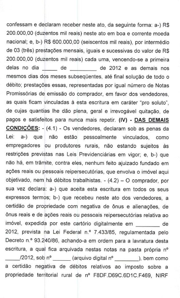 Minuta de contrato de venda do sítio em Atibaia para Lula pag.4 (Foto: Reprodução)
