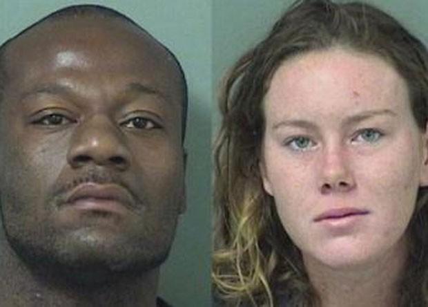 Ramon Mitchell e Erin Byrd foram presos após sexo em capô de carro (Foto: Palm Beach County Jail)