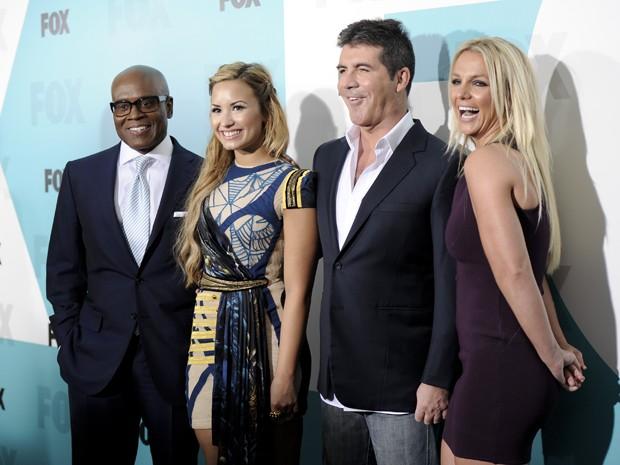 L.A. Reid, Demi Lovato, Simon Cowell e Britney Spears, o júri da temporada 2012 do programa 'The X Factor' (Foto: Evan Agostini/AP)