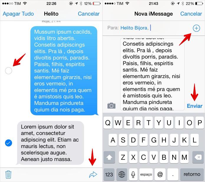 Encaminhando mensagens no iPhone (Foto: Reprodução/Helito Bijora)