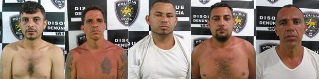 José Francisco dos Santos; José Claudio Cândido do Prado; Paulo Marcio Rodrigues de ARaújo; Thiago de Souza Soares; e Paulo da Silva Santos são apontados como chefes do PCC dentro de Alcaçuz (Foto: Polícia Civil/Divulgação)
