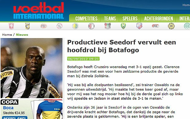 Seedorf partida jornais internacionais Botafogo (Foto: Reprodução / Voetbal)