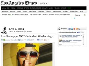 'LA Times' em nota sobre a morte de Daleste (Foto: Reprodução /  Site Latimes.com)