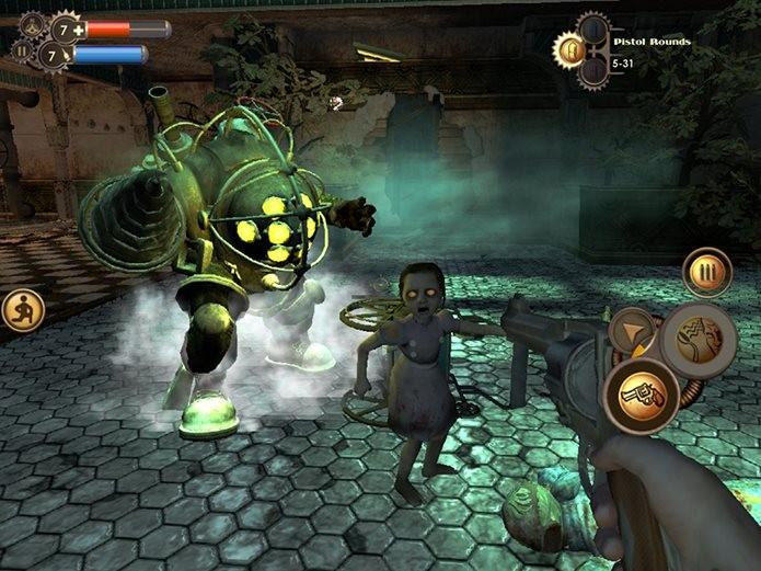 Bioshock chega ao iOS com pouco requinte gráfico (Foto: Reprodução / Pocket Gamer) (Foto: Bioshock chega ao iOS com pouco requinte gráfico (Foto: Reprodução / Pocket Gamer))
