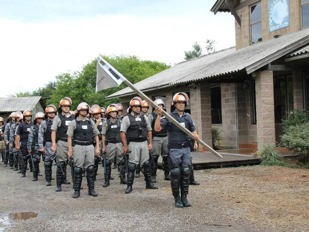 Treinamento de policiais militares para segurança na Copa (Foto: Samuel Cardoso/BM)
