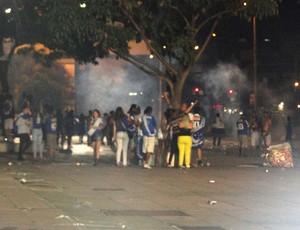 tumulto na Praça da Estação, em Belo Horizonte, na comemoração do título do Cruzeiro (Foto: Marco Antônio Astoni)