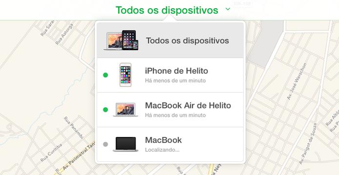 Selecione o dispositivo que você deseja localizar (Foto: Reprodução/Helito Bijora)  (Foto: Selecione o dispositivo que você deseja localizar (Foto: Reprodução/Helito Bijora) )