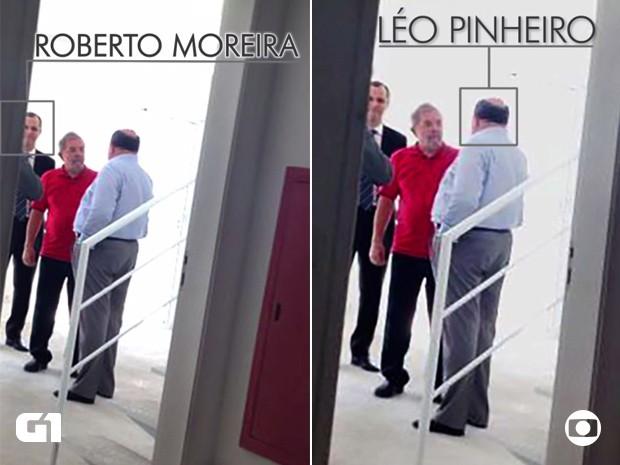 Lula aparece ao lado de Roberto Moreira, diretor de incorporação da OAS, e Léo Pinheiro, ex-presidente da OAS (Foto: TV Globo/Reprodução)