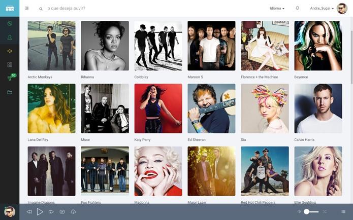 O booombox permite criar perfil, ouvir músicas, ver vídeos e criar playlists (Foto: Reprodução/André Sugai)