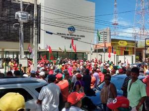 Organização afirma que há cerca de 5 mil pessoas no ato em Maceió (Foto: Marcio Chagas/G1)